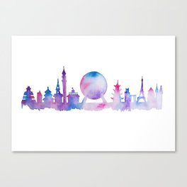 EPCOT Skyline Watercolor Silhouette Canvas Print