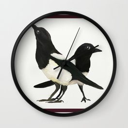 Two For Joy - Magpie Pair Wall Clock