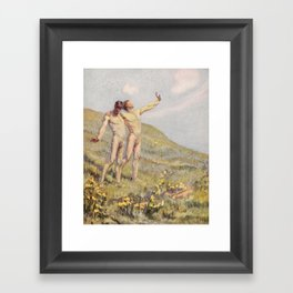 """Whose happiest days were far and away through fields, ... he and another wandering"" (Margaret Cook) Framed Art Print"