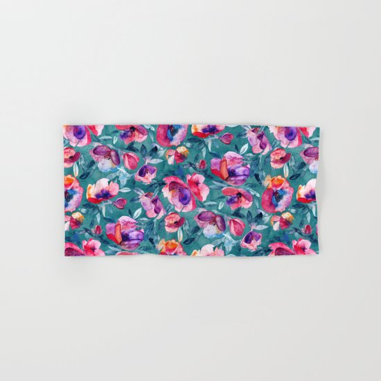 Flourish - a watercolor floral in pink and teal Hand & Bath Towel