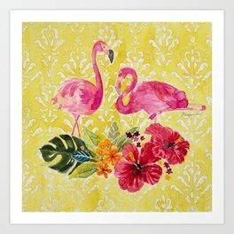 Flamingos On Damask Pattern Art Print