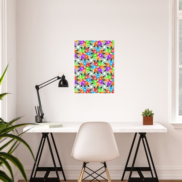 Tie Dye Holiday Lights Poster