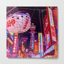 Electric Postcard from Osaka Metal Print