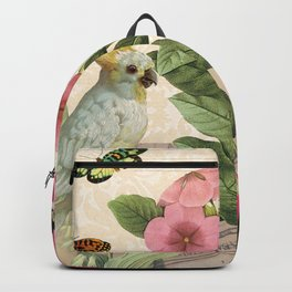 A macaw with flowers and butterflies Backpack