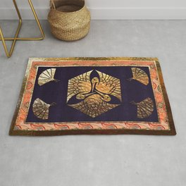 Japanese Swan Traditional Motif Rug