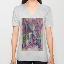 Colorful Rainbow Abstract Aspen Tree Colorado Painting Unisex V-Neck