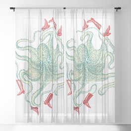 Tangled tales - Octopus in little red riding boots Sheer Curtain