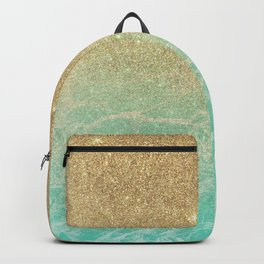 Elegant turquoise marble faux gold glitter gradient Backpack
