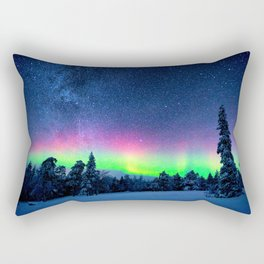 Aurora Borealis Over Wintry Mountains Rectangular Pillow