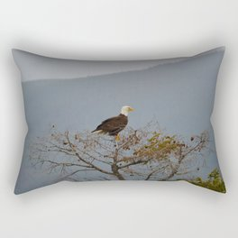 Bald Eagle above the Athabasca River in Jasper National Park Rectangular Pillow