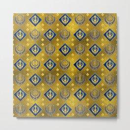Gold and Lapis Lazuli Khanda symbol pattern Metal Print