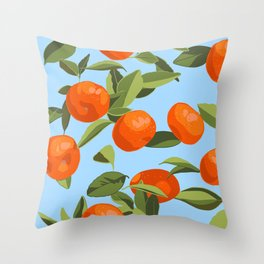 Good Luck Mandarin Oranges Throw Pillow