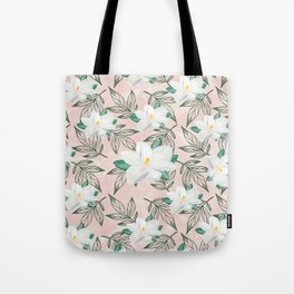 Blush pink watercolor forest green white magnolia blossom Tote Bag