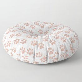 Rose Gold Paw Print Pattern Floor Pillow