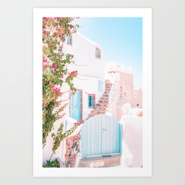 Santorini Greece Mamma Mia Pink House Travel Photography in hd. Art Print