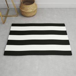 Midnight Black and White Horizontal Cabana Tent Stripes Rug