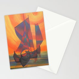 Red Sails in the Sunset Cubist Junk Abstract Stationery Cards