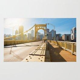 Seventh Street Bridge To Pittsburgh, Pennsylvania Rug