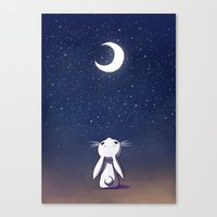 bunny Canvas Prints featuring Moon Bunny by Freeminds