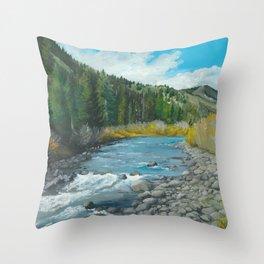 Mountain Stream Art Throw Pillow