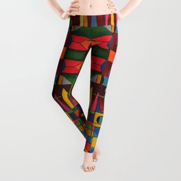 Colors In Collision 1 - Geometric Abstract of Colors that Clash Leggings