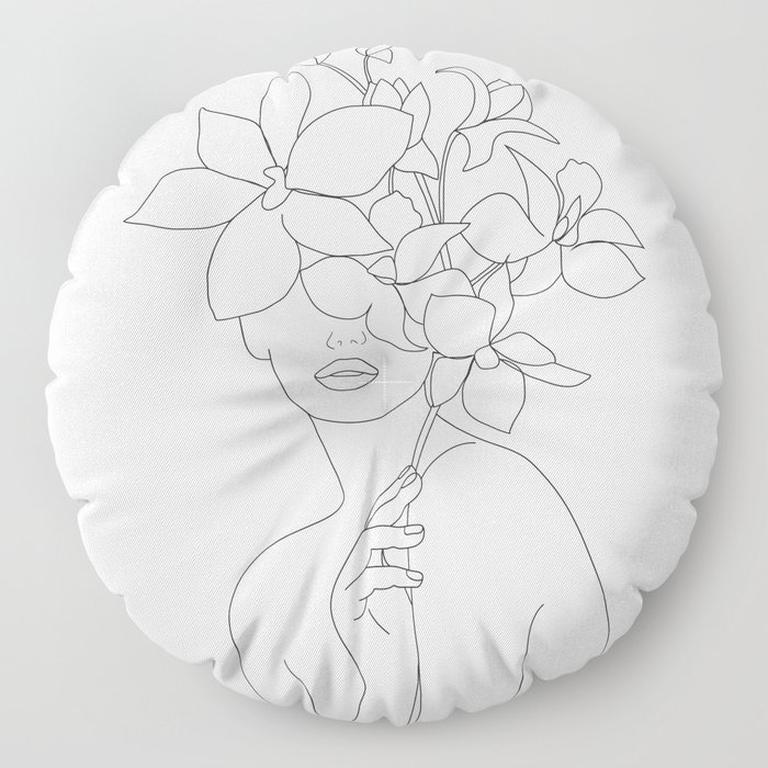 Minimal Line Art Woman with Orchids Floor Pillow