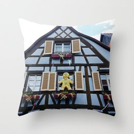 Half-timbered house of Alsacia, beautiful details in windows of this fairy tale homes Throw Pillow