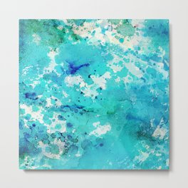 Artistic blue teal hand painted watercolor abstract pattern Metal Print