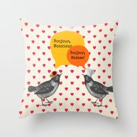 bonjour Throw Pillows featuring Bonjour! by Sreetama Ray