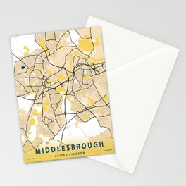 Middlesbrough Yellow City Map Stationery Cards