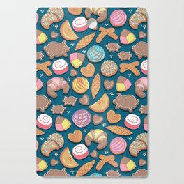 Mexican Sweet Bakery Frenzy // turquoise background // pastel colors pan dulce Cutting Board