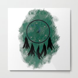 Dreamcatcher crow: Green background Metal Print