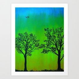 Bright Green Silhouette Art Print
