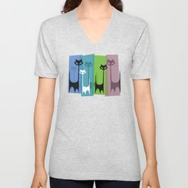 Kitty Cats Tuned In And Receiving Unisex V-Neck
