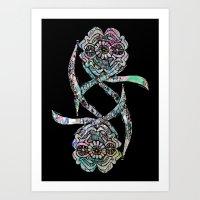 Flowers - Black Art Print