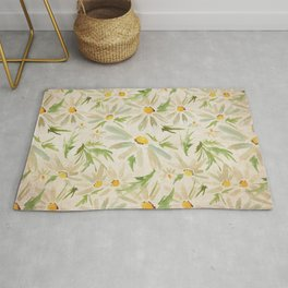Watercolor Daisy Bouquet - Summer Happy Flowers Painting Rug