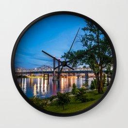 Jeffersonville Indiana Waterfront at Night Wall Clock
