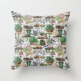 Irish Garden Wall Throw Pillow