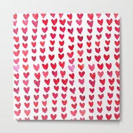 Brush stroke hearts - red Metal Print