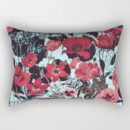 Poppy Floral Pattern Rectangular Pillow