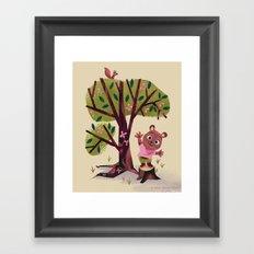 Bear on a tree stump waving hello Framed Art Print
