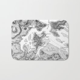 Vintage Map of Boston Harbor (1807) BW Bath Mat