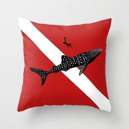 DIVER DOWN - whale shark dive Throw Pillow