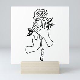 Hands Holding Rose Design — Hands & Rose Stem Illustration Mini Art Print