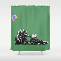 banksy Shower Curtains featuring Banksy style by veronica ∨∧