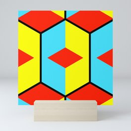 Geometric abstract cubist art showing three-dimensional colorful cubes in a bursting square pattern Mini Art Print