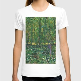 Brush and Underbrush flower and forest landscape by Vincent van Gogh T-shirt
