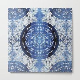 Boho Brocade Blue Mandalas Metal Print