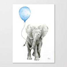 Baby Animal Elephant Watercolor Blue Balloon Baby Boy Nursery Room Decor Canvas Print