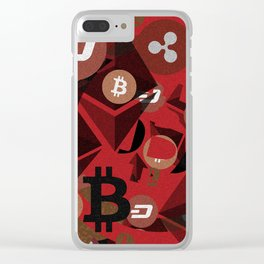 Crypto currency money pink pattern Clear iPhone Case